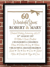 Personalised Diamond Wedding Anniversary 60 Years Gift A4 (Print Only)