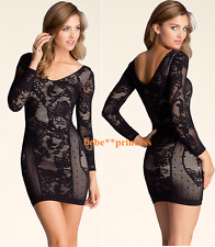NWT bebe lace M L black nude 3/4 sleeve slash floral double v top bodycon dress