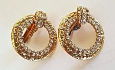 Vintage Antique Gold Plated and CZ CLIP-ON Hoop EARRINGS - Unsigned