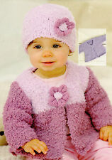 Baby Knitting Pattern Chunky  Matinee/ Cardigan  and Hat Birth to 7 Years  #183
