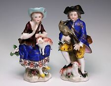 Two Antique Porcelain Figurines Musical with Lambs Gold Chelsea Anchor Marked
