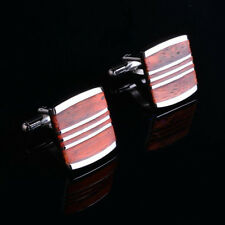 vintage Stainless steel Wood Mens Wedding Party gift cufflinks cuff links
