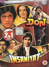 DON & INSANIYAT (CARTONE COVER)- NUOVO BOLLYWOOD -2 FILM IN 1 DVD