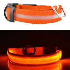 New LED Dog Pet Collar Flashing Luminous Adjustable Safety Light Up Nylon Tag MA