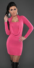 NEW SEXY RIBBED KNIT MINI DRESS/LONG JUMPER SWEATER CASHMERE SILK 6 8 10 EVENING