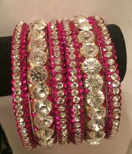 indian Ethnic 6 Pcs Pink/ Silver Women Bridal Traditional Bangles Bracelets