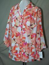 JM COLLECTION FROM MACY'S TUNIC LENGTH BLOUSE 100% WASHABLE LINEN ORCHIDS 20W