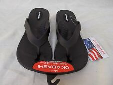 New Women's Okabashi Lakeside Wedge Thong Flip Flop Sandals Black M US 6.5 - 7.5
