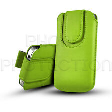 BUTTON CLOSE LEATHER PULL TAB CASE COVER HOLSTER FOR VARIOUS MOBILES HANDSETS
