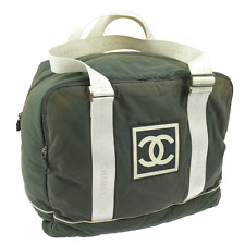 Auth CHANEL CC Jumbo XL Sport Line Travel Hand Bag Green Canvas Vintage V08538