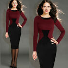 Sexy Womens Colorblock Office Evening Party Slim Bodycon Tunic Midi Pencil Dress