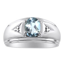 Mens Aquamarine & Diamond Ring 14K White Gold March Birthstone