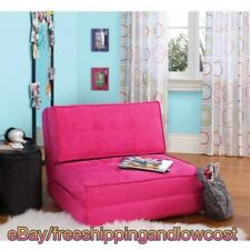Convertible Sleeper Bed Couch Dorm Flip Chair Fold Down Lounger Color Racy Pink