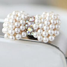 3.5mm New Charm Fashion Rhinestone Anti Dust Plug Universal Headphone Pearl bow