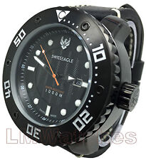 Swiss Eagle Abyss SE-9073-03 Mens Dive Watch Black Ronda 515 Quartz New UK