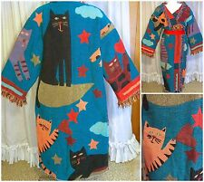 80s Abstract Crazy Cat Lady Pat Meyers Woven Fringe Tapestry Blanket Coat