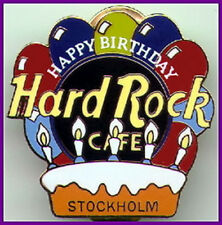 Hard Rock Cafe STOCKHOLM 1999 HAPPY BIRTHDAY PIN - Balloons Candles & Cake #9212