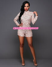 USA Women Long Sleeve  Geometric Sequin Outfits Playsuit jumpsuit Short Rompers