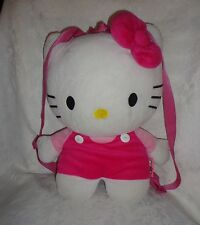 "Hello Kitty Zippered Backpack Adjustable Strap 16"" Plush Soft Toy Stuffed Animal"