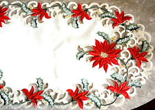"HOLIDAY SPLENDOR  Lace 70""  Doily Table Runner Christmas Red Poinsettia"