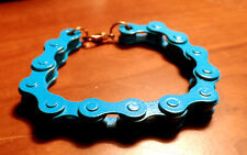 "BIKE CHAIN Bracelet 7"" Turquoise Blue Punk Gothic Industrial jewelry HOT TOPIC"