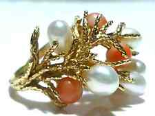 LARGE CORAL REEF LIKE 14K YELLOW GOLD PEARL & LIGHT CORAL ESTATE RING SIZE 5.25