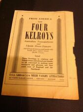 L1-2 Ephemera 1956 Advert Variety Artist The Four Kelroys Australian Trampoline