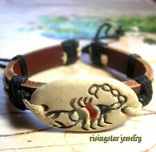 "Men's Handmade ""King Scorpion"" Leather Fashion Character Bracelet Wristband"