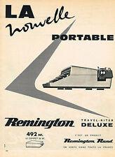 PUBLICITE ADVERTISING 124 1960  REMINGTON  machine à écrire portable