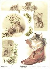 Rice Paper for Decoupage Scrapbooking Vintage Christmas Kittens A4 ITD R1017