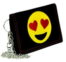 Love Heart Eyes Emoji Tri-fold Wallet with Chain Alternative Clothing Valentines