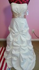 New Debs Ivory & Gold Full Length Dress Sz.9(Wedding, Prom, Quince)