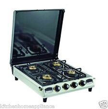 Four 4 Burner Stainless Steel Gas Stove With Lid !!