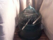 Vintage E-Weld Co. Hendryx Style Domed Metal Green Bird Cage  - Glass Feeder