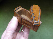 V. RARE ANTIQUE 19TH C MEMENTO MORI TREEN CARVED WOOD MINIATURE COFFIN SNUFF BOX