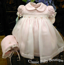 NWT Will'beth Pink Sheer Overlay Smocked Dress 6M Bonnet Baby Girls Pearl