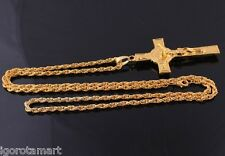 Gold Long Chain Jesus Trendy 18K Gold INRI Crucifix Cross Necklace Pendant