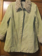 green vintage cream fur lined coat sz 18 twill material  sherpa