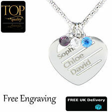 Love Heart Birthstone Personalised Necklace Any Names Engraved Silver Jewellery