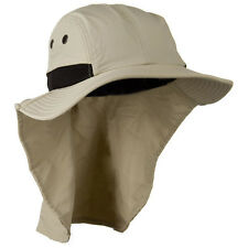 Mens Womens Camping Outdoor Hiking Sun Protection Hat With Neck Cover Flap STONE