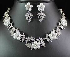 FLORAL PEARL N AUSTRIAN RHINESTONE CRYSTAL NECKLACE EARRINGS SET BRIDAL N1424