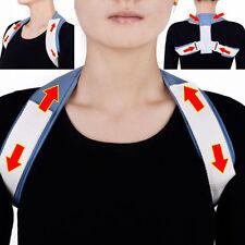 Unisex Soft Therapy Back Support Brace Belt Band Posture Shoulder Corrector US