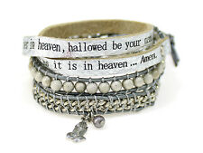 4031300 Lords Prayer Our Father Leather Wrap Bracelet Scripture Christian Jew...