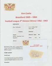 KEN COOTE BRENTFORD 1949-1964 RARE ORIGINAL HAND SIGNED CUTTING/CARD GOOD CON