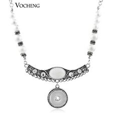 Vocheng Snap 18mm Button Jewelry Simulated-pearl Pendant Necklace NN-361