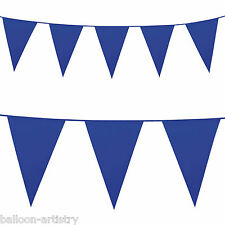 10m Giant ROYAL BLUE Plastic Pennant Banner Party Bunting Decoration