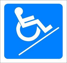 """(4""""x 4"""") ONE GLOSSY STICKER, """"WHEEL CHAIR SLOPE"""", FOR INDOOR OR OUTDOOR USE"""