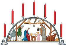 Artist Wilhelm Schweizer German Christmas Pewter Zinn - Nativity Candle Arch
