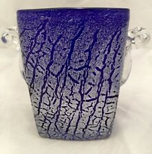 Square Beautiful Blue Art Glass Ice Bucket With 2 Handles Murano or Kralik style