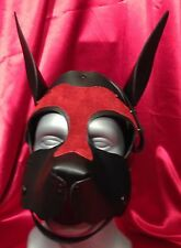 S A L E! OPEN MOUTH PUPPY RED Leather hood fetish role play ALERT EARS mask MR